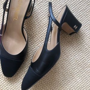 Chanel black slingbacks